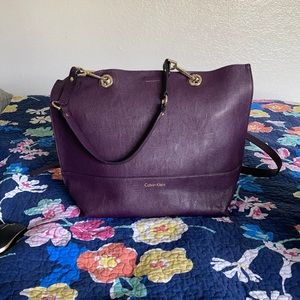 Purple and Black Calvin Klein large bucket bag.